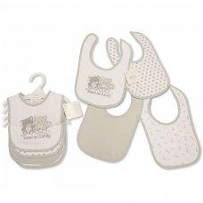 BW-104-750: Baby Grey Teddy Velcro Fastening 4 Pack Bibs