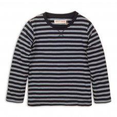 BW JERSEY 16P: Boys Charc/Grey Stripe Jersey Slub Top (8-13 Years)