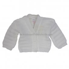 C66W: Baby White Knitted Cardigan (0-9 Months)