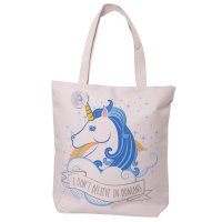 CBAG42: Unicorn Design Cotton Bag with Zip and Lining