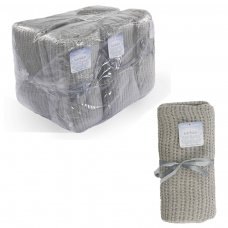 CBC64-BP-G: Grey Cot Size Cellular Cotton Baby Blanket (Bulk Pack)