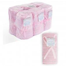 CBP62-BP-P: Pink Cellular Cotton Baby Blanket (Bulk Pack)