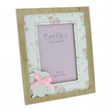 "CG1173P: Petit Cheri Pink Rabbit Photo Frame - 4"" x 6"""