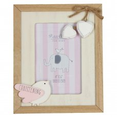CG1280: Petit Cheri Christening MDF Photo Frame Little Bird – Pink