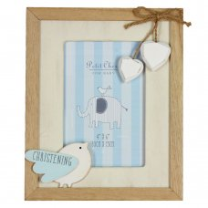 CG1281: Petit Cheri Christening MDF Photo Frame Little Bird – Blue