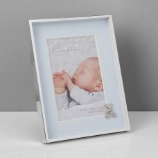 """CG505B: Bambino Silverplated Frame - Teddy with Blue Mount 4"""" x 6"""""""