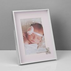 """CG505P: Bambino Silverplated Frame - Teddy with Pink Mount 4"""" x 6"""""""