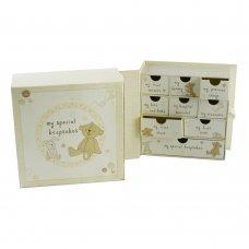CG689: Button Corner Paperwrap Book Keepsake Box with Drawers