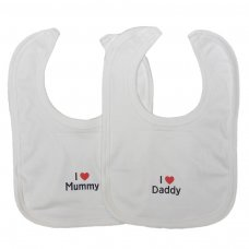 VBCWL: Velcro Bib Cotton White (I Love Motif)