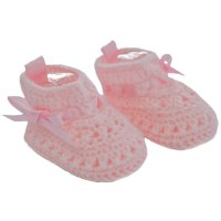 CRS09-P: Pink Crochet Bootees (NB-3 Months)