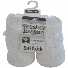 CRS09-W: White Crochet Bootees (NB-3 Months)