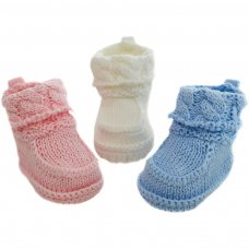 CRS10: Plain Crochet Bootees w/Turnover (NB-3 Months)