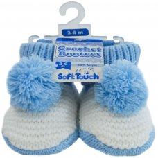 CRS11-B: Pom-Pom Crochet Bootees (3-6 Months)