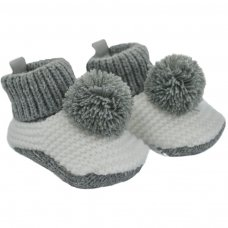 CRS11-G: Pom-Pom Crochet Bootees (3-6 Months)