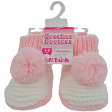 CRS11-P: Pom-Pom Crochet Bootees (3-6 Months)