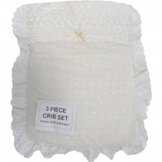 Deluxe Broderie Anglaise Baby 3pce Crib Set: Cream