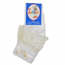 Girls Cream Jester Frilly Lace Socks