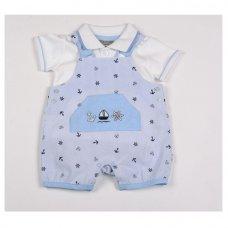 G1310: Baby Boys Sailor All Over Print Dungaree & Polo Shirt Set (NB-6 Months)