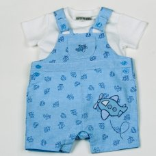 H1913: Baby Boys All Over Print Chambray Dungaree & T-Shirt Set (NB-6 Months)