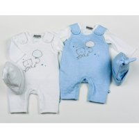 H1954: Baby Boys Bears Cotton Rich Quilted Jacquard 3 Piece Dungaree Set (NB-6 Months)