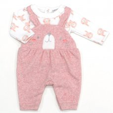 L1058: Baby Girls Bunny Dungaree & Top Set (0-9 Months)