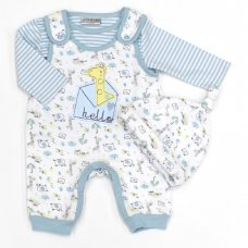 L1071: Baby Boys Safari Quilted Dungaree, Top & Hat Set (0-9 Months)