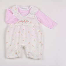 Y1817: Baby Girls Bunny Floral Quilted Dungaree & Top Set (NB-6 Months)