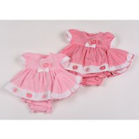 G0203: Premature Baby Girls Apples Dress, Pant & Hat Set