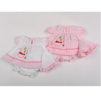 G0205: Premature Baby Girls Cherry Basket Dress, Pant & Hat Set