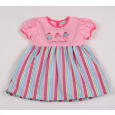 G3234: Baby Girls Cupcake, Striped, Cotton Lined Dress (1-2 Years)