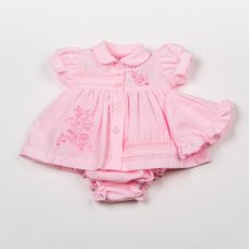 H0874: Premature Baby Girls Pink Flowers Dress, Pant & Hat Set