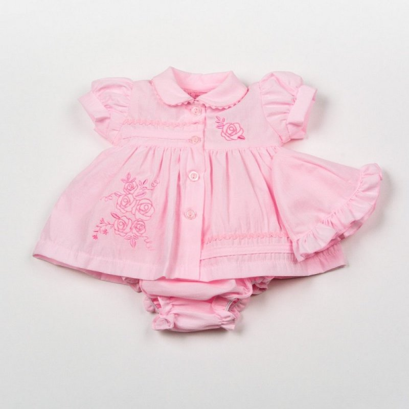 H0874: Premature Baby Girls Pink Flowers Dress, Pant & Hat Set