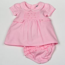 H1926: Baby Girls Smocked Doby Dress & Pant Set (NB-6 Months)