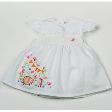 H3868: Baby Girls White Smocked Lined Dress (1-2 Years)