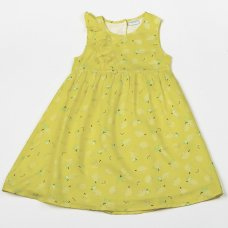 H5751: Girls Yellow All Over Print Cotton Lined Dress (3-8 Years)