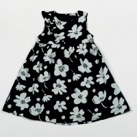 H5752: Girls Navy All Over Print Cotton Lined Dress (3-8 Years)