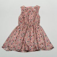 H5757: Girls Floral All Over Print Cotton Lined Dress (3-8 Years)