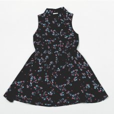 H5759: Girls Navy All Over Print Cotton Lined Dress (3-8 Years)