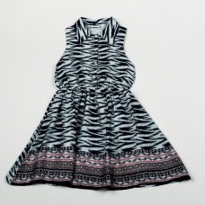 H5760: Girls Navy All Over Print Cotton Lined Dress (3-8 Years)