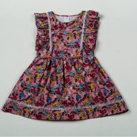 H5818: Girls All Over Print Lined Dress (3-8 Years)