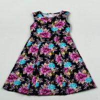 H5820: Girls All Over Print Floral Lined Dress (3-8 Years)
