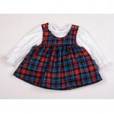 K1505: Baby Girls Tartan Pinafore Dress & Top Set (0-9 Months)