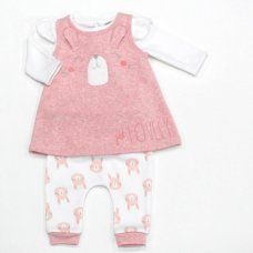L1055: Baby Girls Bunny 3 Piece Dress, Top & Pant Set (0-9 Months)