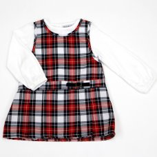 L3009: Baby Girls Cotton Lined Check Pinafore Dress & Top Set (12-24 Months)