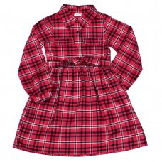 L5201: Girls Pink Check Lined Dress (3-8 Years)
