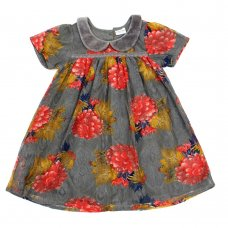 L5209: Girls All Over Print Cotton Lined Net Dress (3-8 Years)