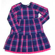 L5211: Girls Check Cotton Lined Fashion Dress (3-8 Years)