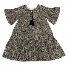 L5217: Girls All Over Print Cotton Lined Dress (3-8 Years)