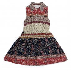 L5218: Girls All Over Print Cotton Lined Dress (3-8 Years)