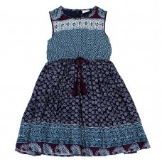 L5219: Girls All Over Print Cotton Lined Dress (3-8 Years)